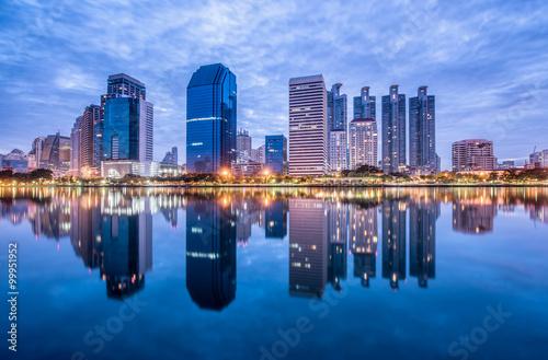 Poster Bangkok Bangkok city downtown at morning with reflection of skyline, Thailand