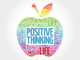 Naklejka Positive thinking apple word cloud, health concept