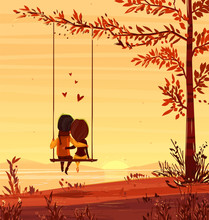 Boy And Girl Looking At The Sunset Romantic Night.. Vector Cute Illustration.