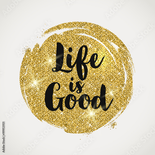 Fototapeta Optimistic quote on a glitter golden background - vector illustration