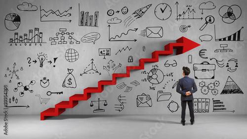 Fototapeta Business Mann bei Strategie Planung obraz