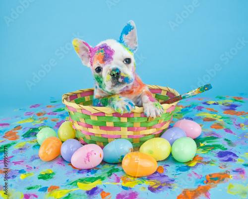 Deurstickers Franse bulldog Painted Easter Puppy