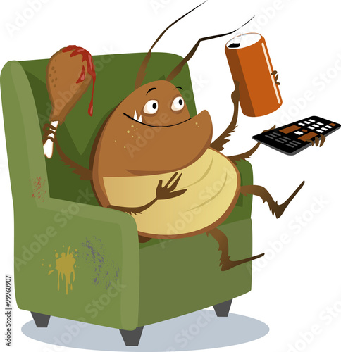 Fotografia, Obraz  Funny cartoon cockroach sitting in a chair with a TV remote control, drink in a