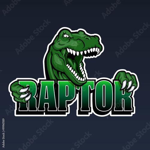 Photo  raptor mascot,cartoon raptor,dinosaur illustration,