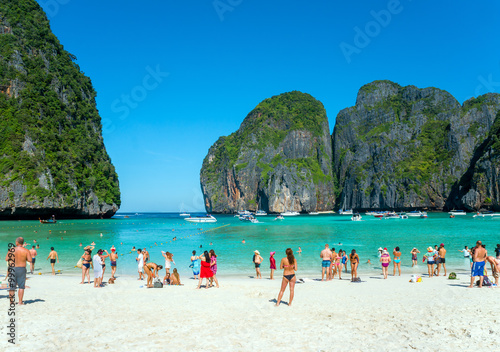 Tourists on the beach of Maya Bay, Thailand