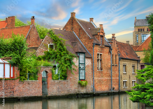 Poster Channel Bruges historical houses and canals