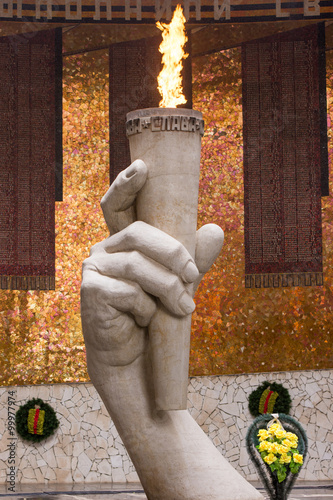 "Poster  The eternal flame in the Hall of Military Glory historical memorial complex ""To"