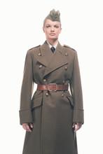 Retro Army Uniform Fashion Woman Isolated Against White.