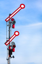 Departure Train Signal Shows Go-Ahead / Old Double Railway Signal From Steam Locomotive Era In Action
