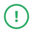 Flat green Exclamation Mark icon and green circle