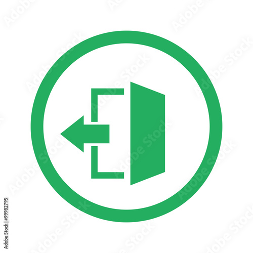 Flat green Exit icon and green circle Wall mural