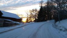 Driving On Frozen Winter Countryside Of Raasepori Finland, At A Evening