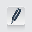 Flat black Thermometer icon on rounded square web button