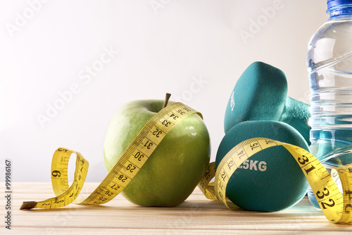 Fotografia  Lifestyle health diet and sports isolated background front view