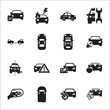 car, accident 16 black simple icons set for web