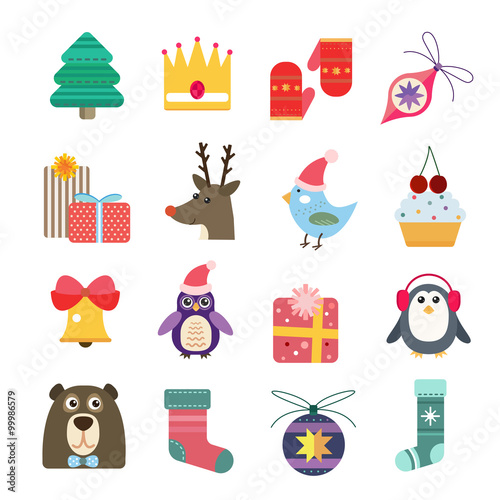 Recess Fitting Illustrations Christmas icons set