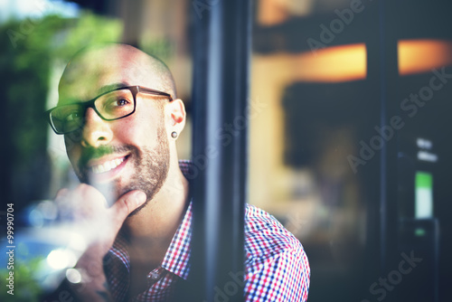 Fotografie, Obraz  Man Positive Thinking Inspiration Ideas Mind Concept