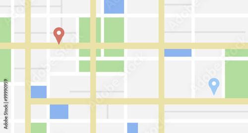 Mapa miasta z kilkoma tagami lokalizacji