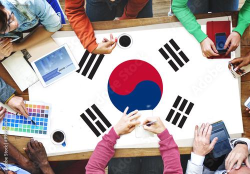 Fototapeta South Korea National Flag Business Team Meeting Concept obraz na płótnie