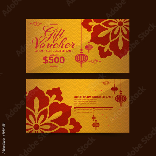 Staande foto Retro sign Chinese New Year Gift Voucher design template
