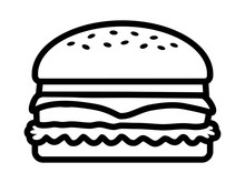 Hamburger / Cheeseburger Line Art Icon For Food Apps And Websites
