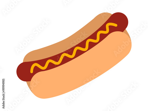 Fotografie, Obraz  Hotdog / hot dog with mustard flat color icon for food apps and websites