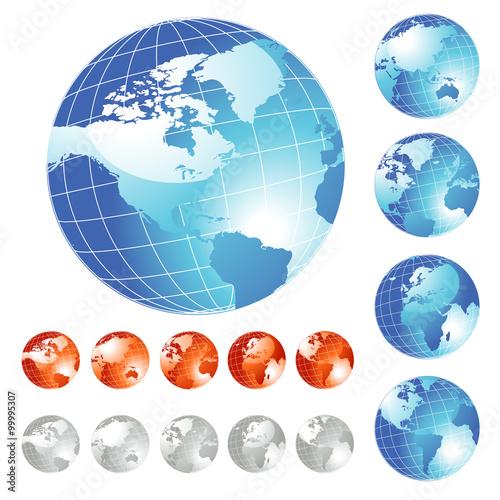 Fotografia Big Earth Globe set, vector illustration