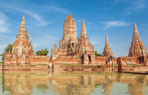 Poster de jardin Monument temple de Wat Chai Watthanaram, Ayutthaya, Thaïlande