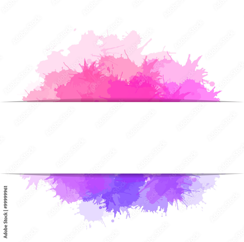 Fototapeta Cover with colorful watercolor splashes and place for text