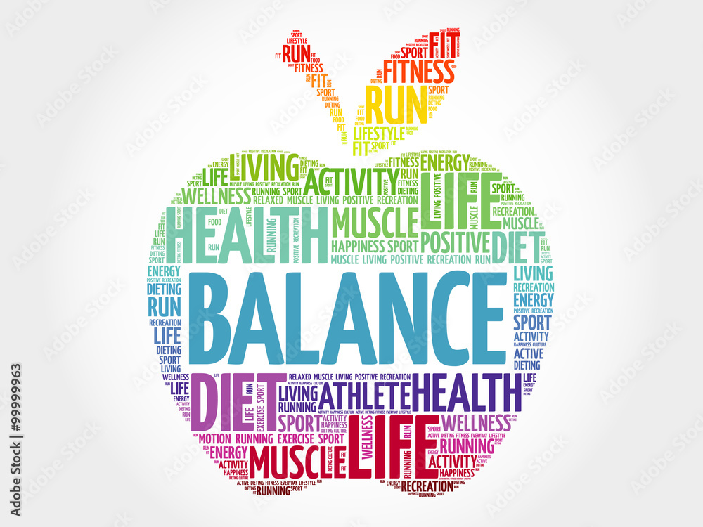 Fototapeta BALANCE apple word cloud, health concept