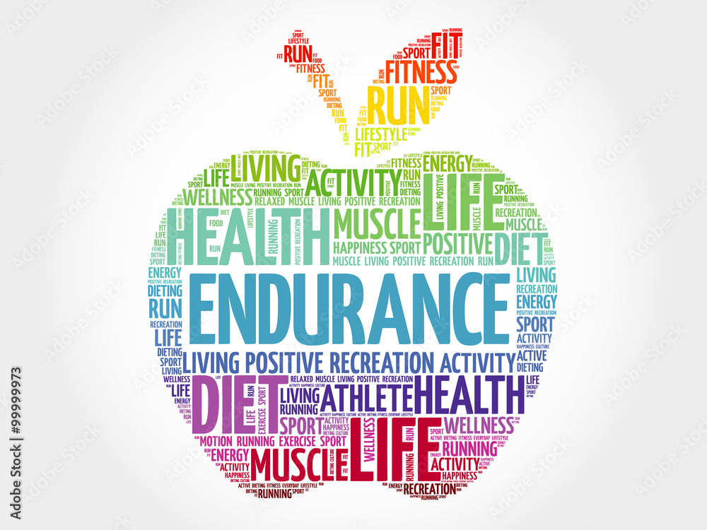 Fototapeta ENDURANCE apple word cloud, health concept