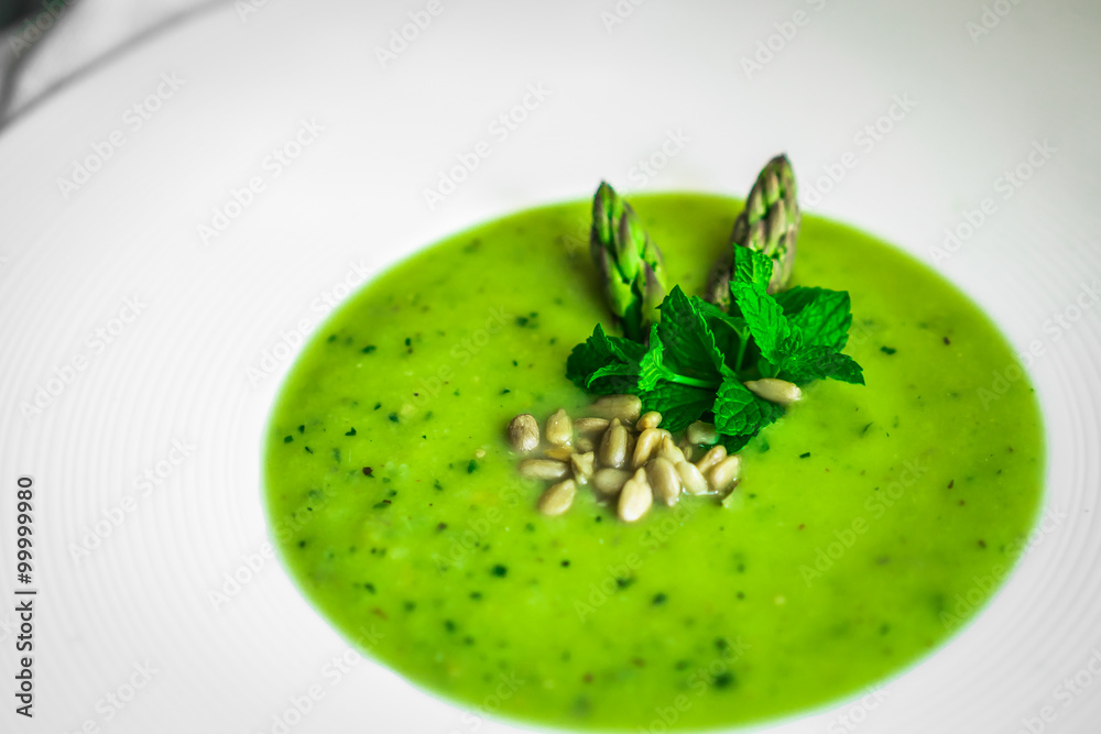 Fototapeta Green vegetable cream soup