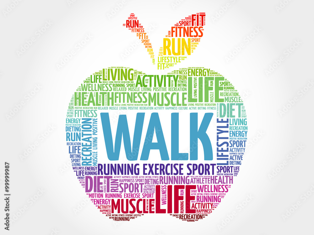 Fototapeta WALK apple word cloud, health concept