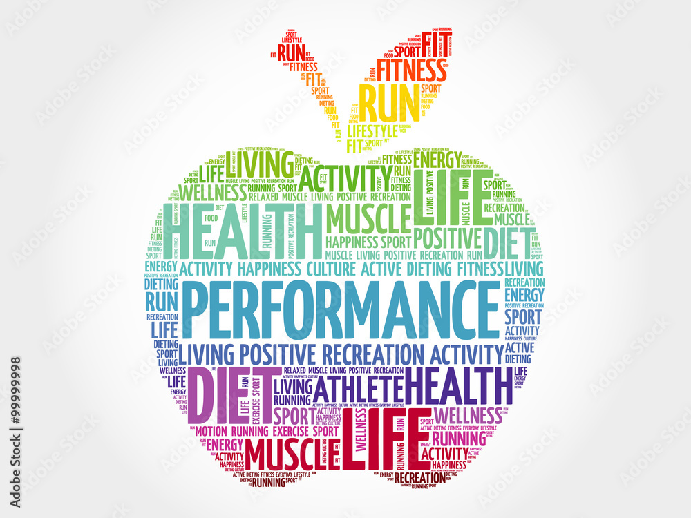 Fototapeta PERFORMANCE apple word cloud, health concept
