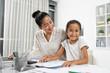 Leinwandbild Motiv At workplace with mother