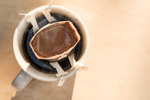 Drip Coffee Top View With Blank Space