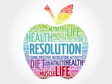 RESOLUTION Apple Word Cloud, Health Concept