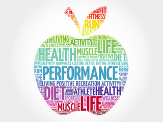 PERFORMANCE apple word cloud, health concept
