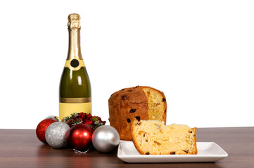 Champagne and cake isolated