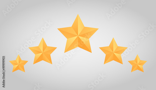 Fotografia, Obraz Set of vector paper origami star for logos, icons,