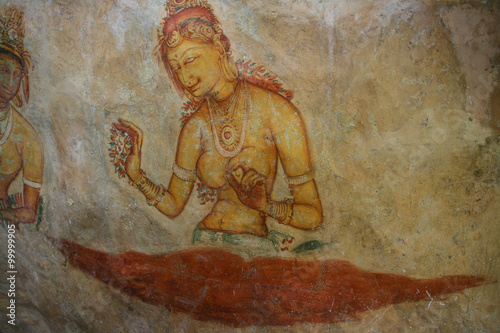 Obraz the mural on mirror wall in sri lanka - fototapety do salonu