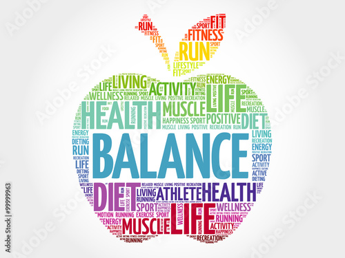 Obraz BALANCE apple word cloud, health concept - fototapety do salonu