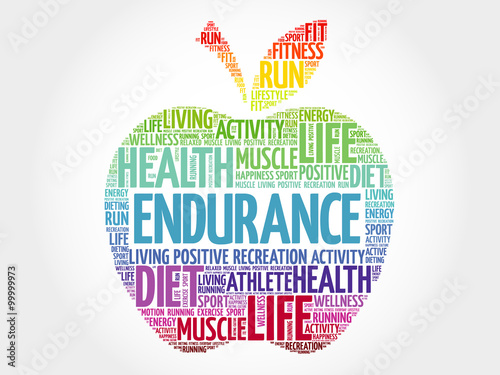 ENDURANCE apple word cloud, health concept