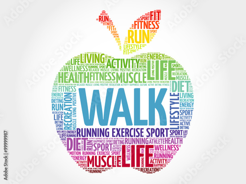Fotografia WALK apple word cloud, health concept