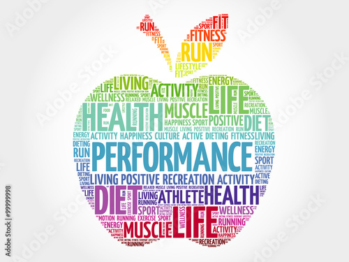 Stampa su Tela PERFORMANCE apple word cloud, health concept