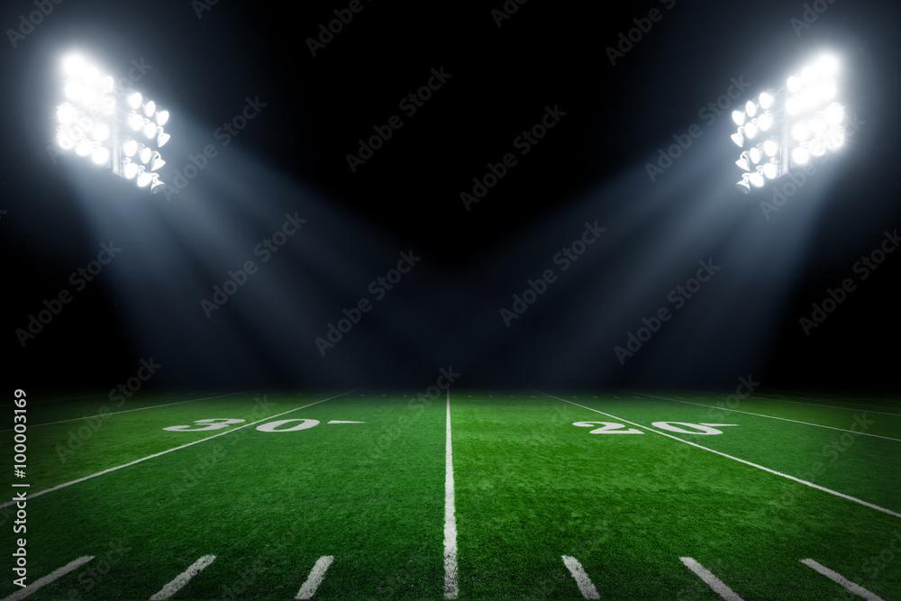 Fototapeta Football field illuminated by stadium lights