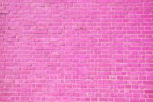 Pink Brick Wall Background.