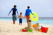 Sand Castle On Tropical Beach, Family Vacation