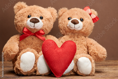 obraz lub plakat Valentines Day. Love red heart.Couple Teddy Bears