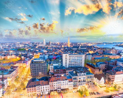 Foto op Plexiglas Antwerpen Aerial view of Antwerp, Belgium
